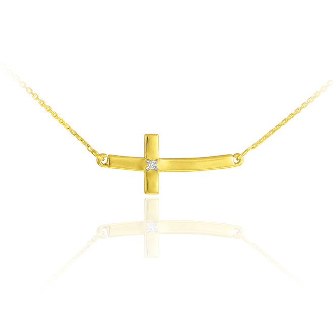 14K Gold Sideways Small Curved Diamond Cross Pendant Necklace