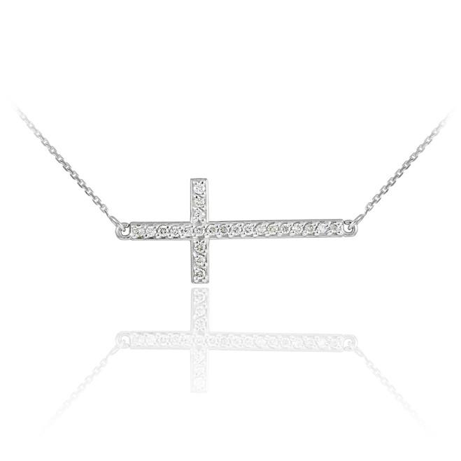 14K White Gold Sideways Diamond Cross Pendant Necklace