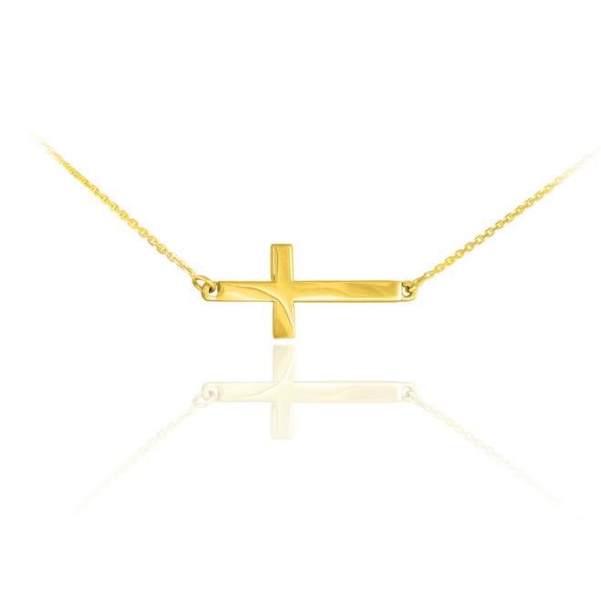 14K Solid Gold Sideways Cross Cute Necklace