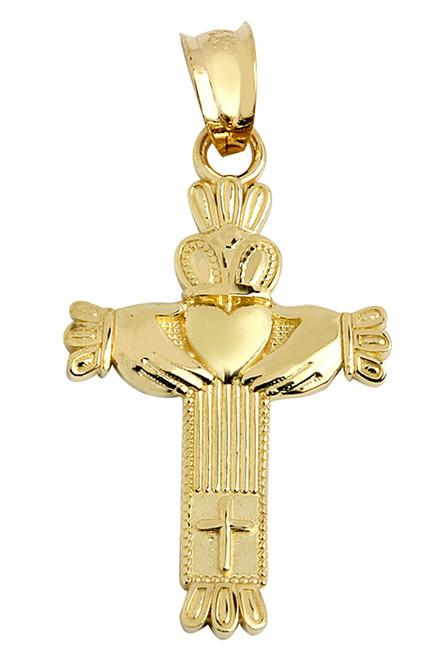 Gold Claddagh Cross Pendant Necklace