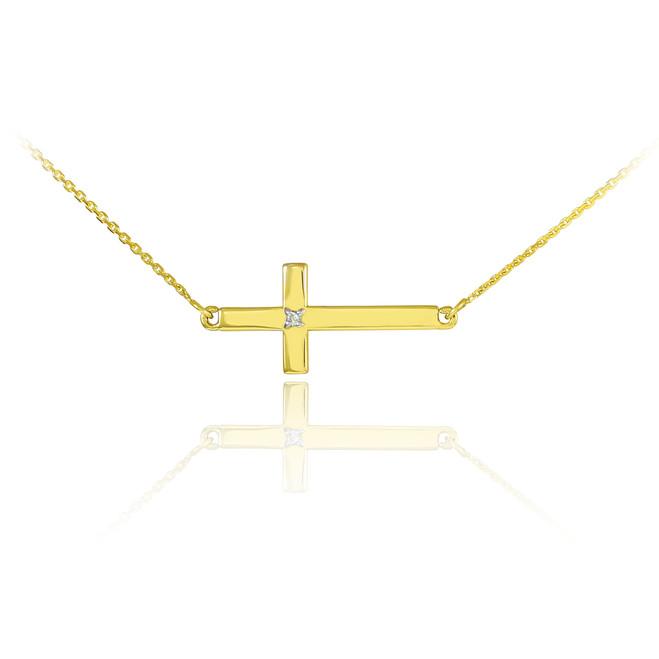 14K Gold Sideways Cross Cute Diamond Necklace