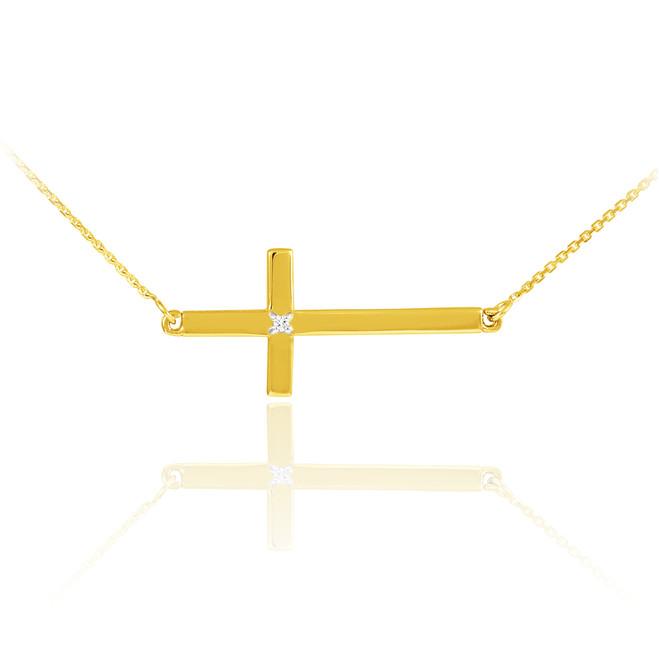 14K Solid Gold Sideways Diamond Cross Necklace