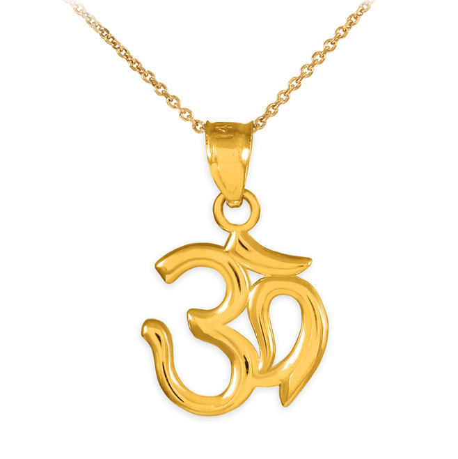 Yellow Gold Om/Ohm Pendant Necklace