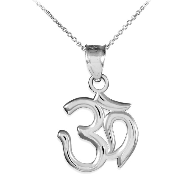 White Gold Om/Ohm Pendant Necklace