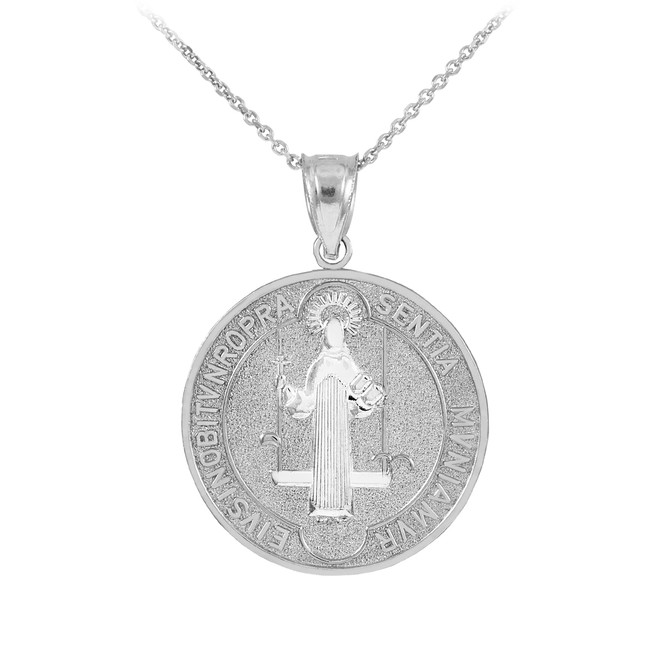 Sterling Silver St. Benedict Coin Medallion Pendant Necklace (M)