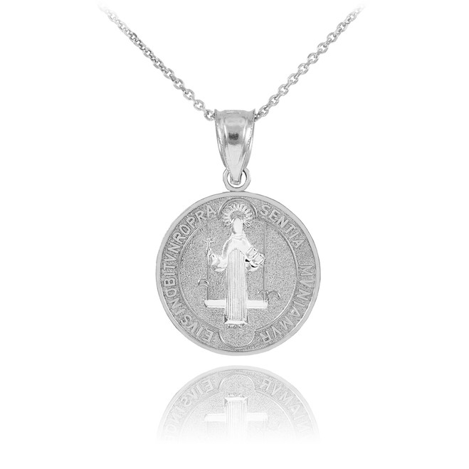 Sterling Silver St. Benedict Coin Charm Pendant Necklace