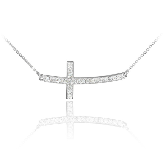 14K White Gold Sideways Curved Cross CZ Pendant Necklace