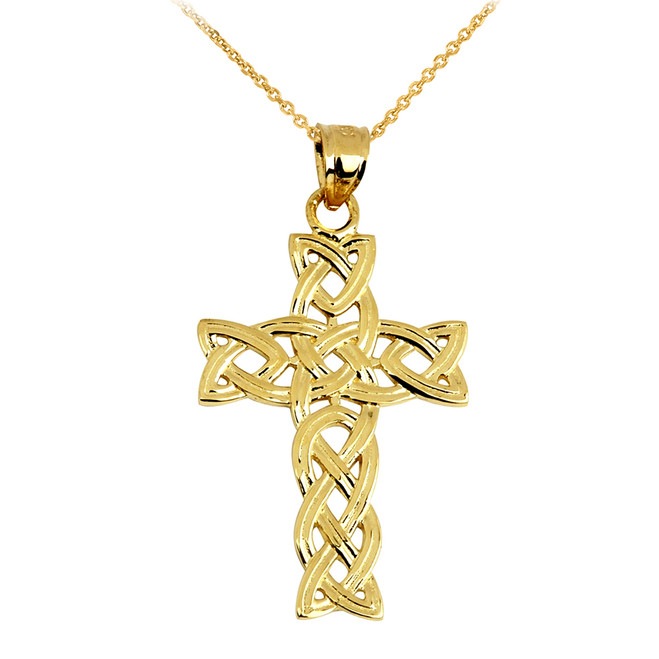 Gold Irish Trinity Cross Pendant Necklace