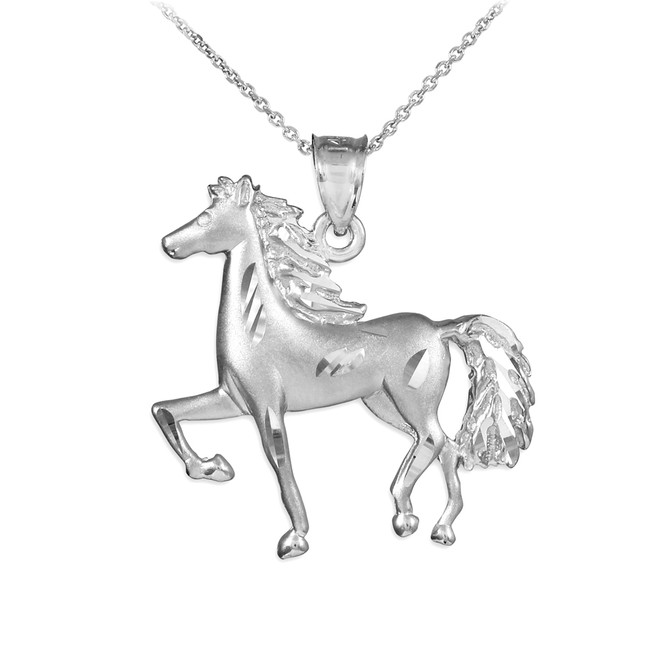 Satin Finish Diamond Cut Silver Horse Charm Pendant Necklace