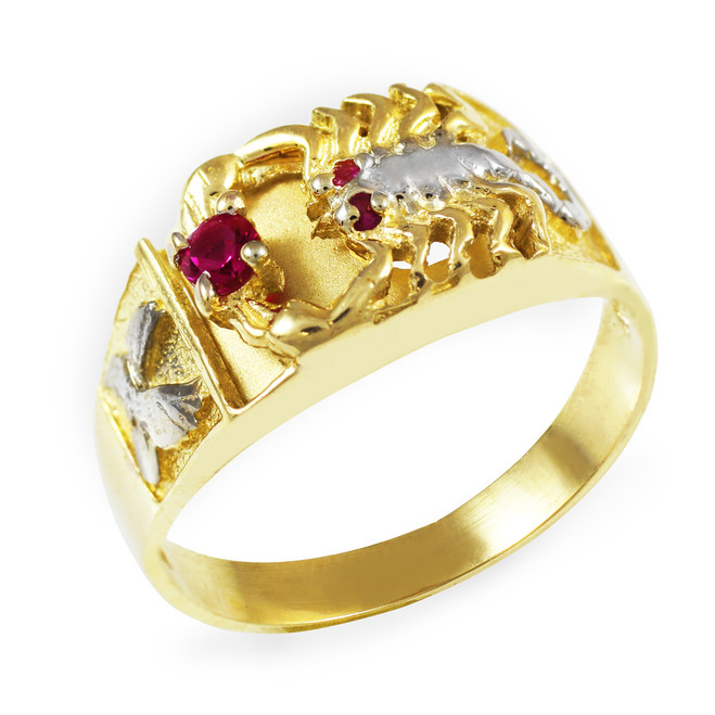 Two-Tone Gold Red CZ Men's Scorpion Ring