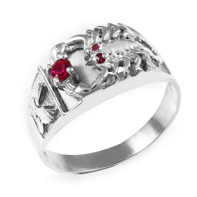 White Gold Men's Red Zirconia Scorpion Ring