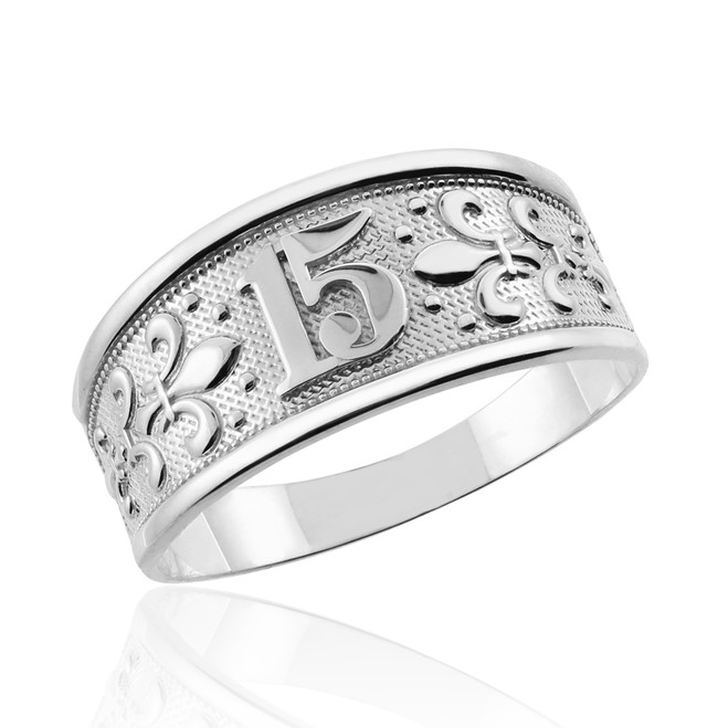 "Sterling Silver ""15 Anos"" Quinceanera Ring"