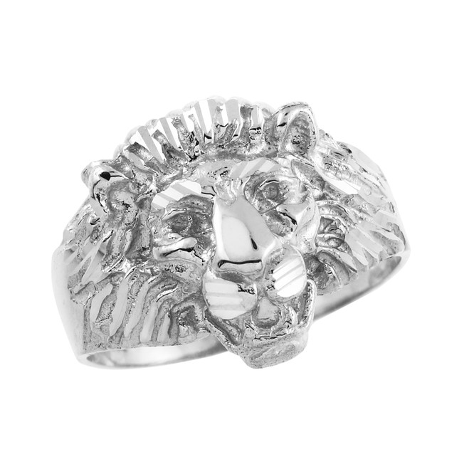 Men's White Gold Lion Head Ring