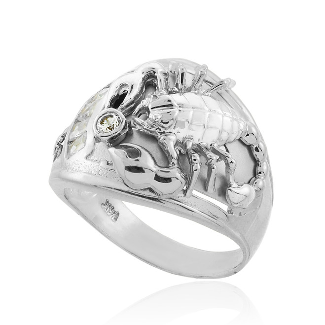 Men's White Gold Scorpion CZ Ring