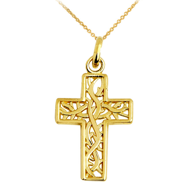 Celtic Irish Trinity Vine Cross Pendant Necklace