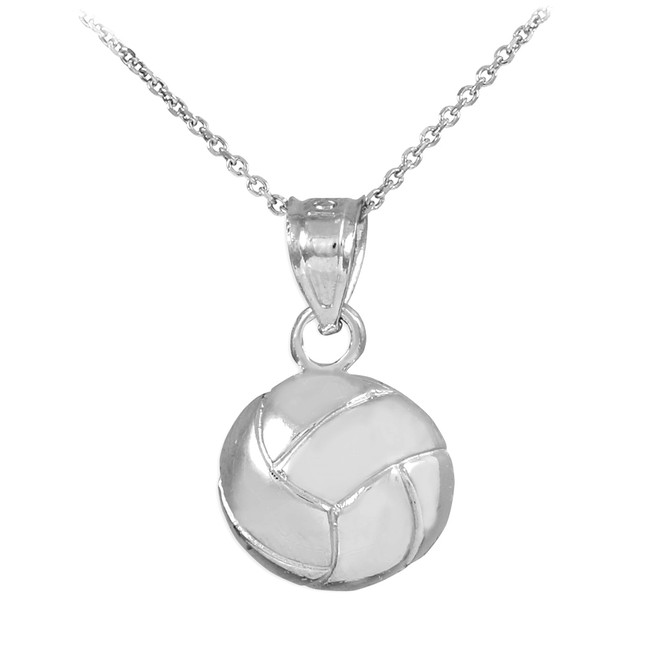 White Gold Volleyball Charm Sports Pendant Necklace