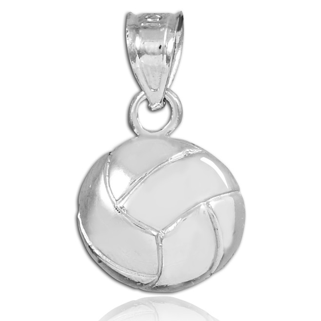 Silver Volleyball Charm Sports Pendant