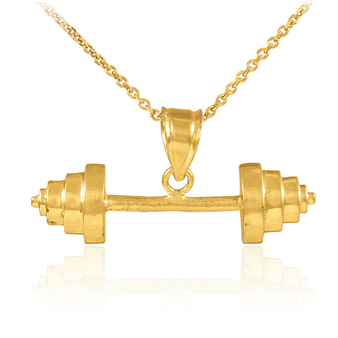 Gold Dumbbell Charm Sports Pendant Necklace