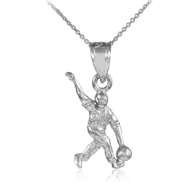 White Gold Bowling Man Charm Sports Pendant Necklace