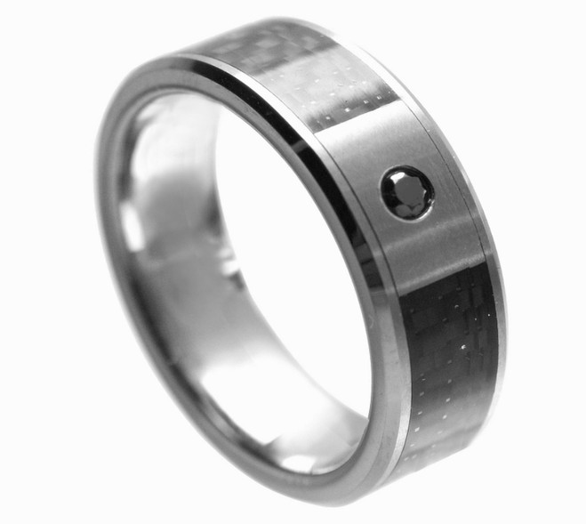 Men's Tungsten Carbide Ring with Black Diamond 8mm