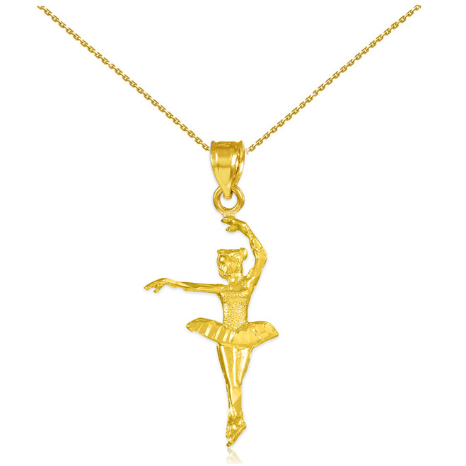 Gold Ballerina Dancer Charm Pendant Necklace