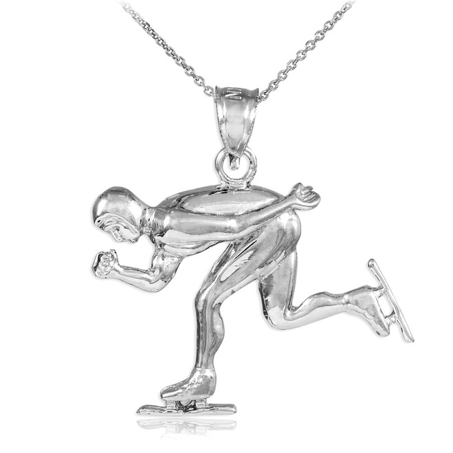 925 Sterling Silver Ice Skating/Speed Skater Charm Sports Pendant Necklace
