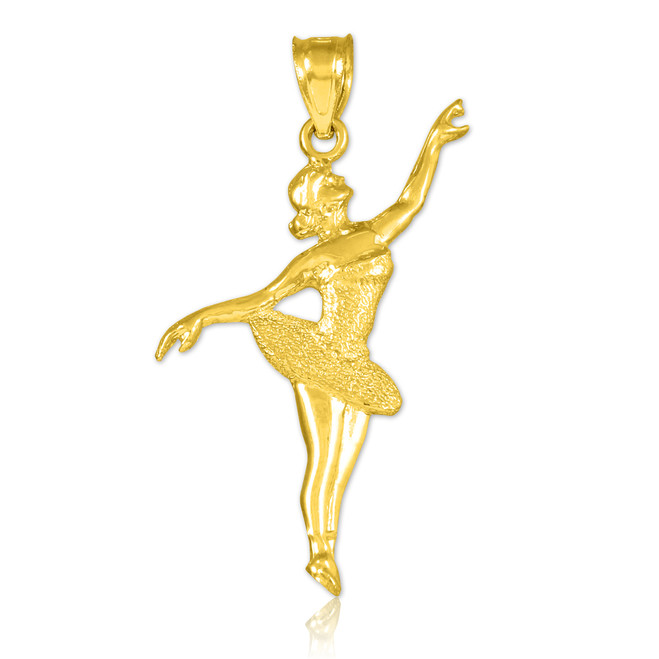 Ballet Dancer Gold Charm Pendant Necklace
