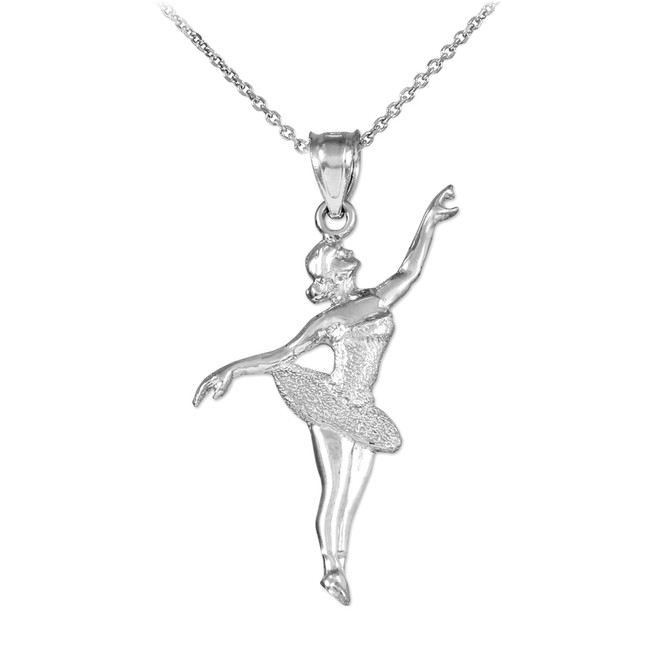 Ballet Dancer White Gold Charm Pendant Necklace