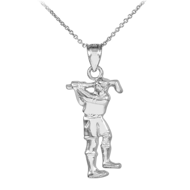 White Gold Golfer Sports Pendant Necklace