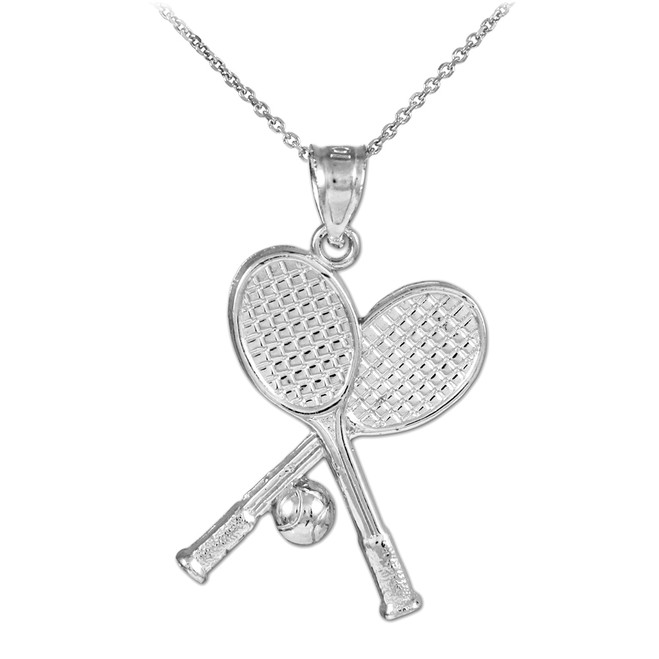 Tennis Racquets and Ball Silver Charm Sports Pendant Necklace