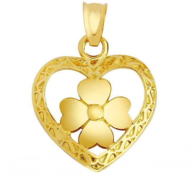 Gold Heart Clover Pendant