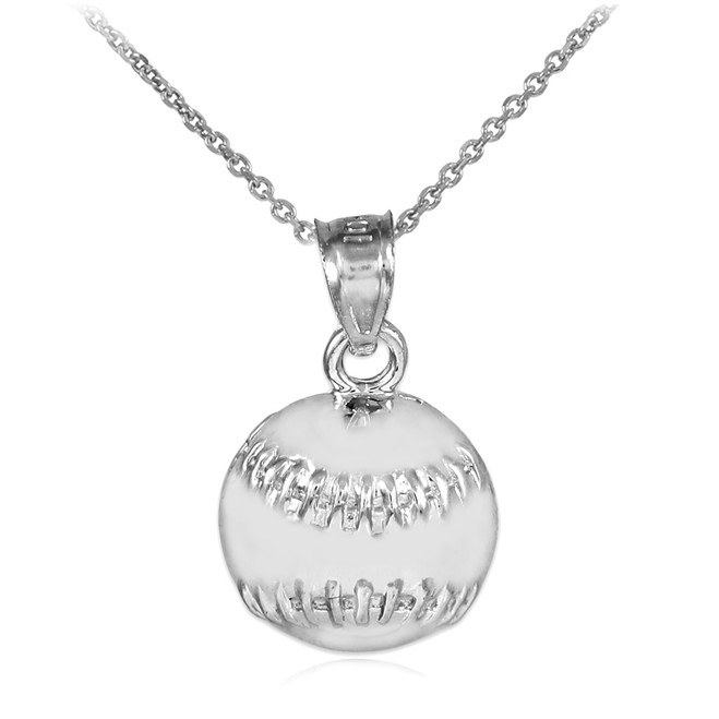 Silver Baseball/Softball Charm Sports Pendant Necklace