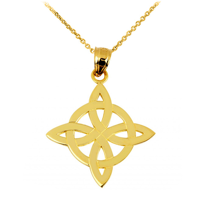 Gold Irish Celtic Trinity Pendant Necklace
