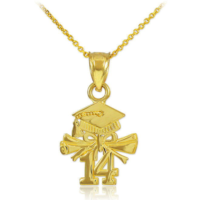 Gold 2014 Graduation Charm Necklace