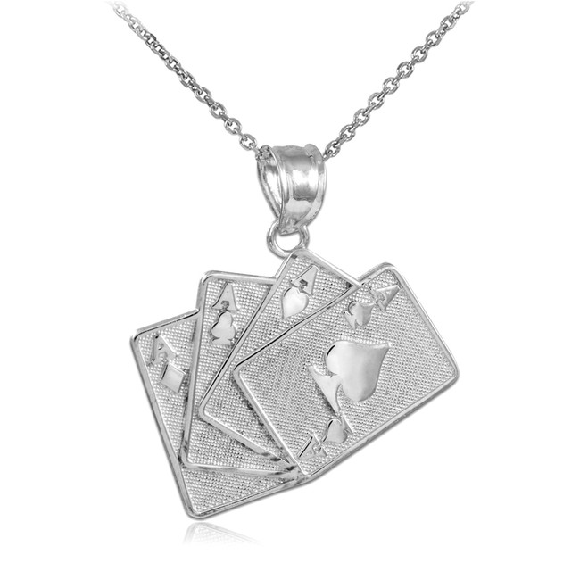 Four of a Kind Playing Cards Silver Charm Pendant Necklace