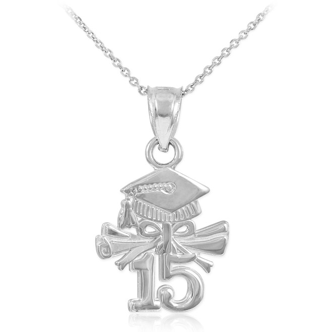 White Gold 2015 Graduation Charm Necklace