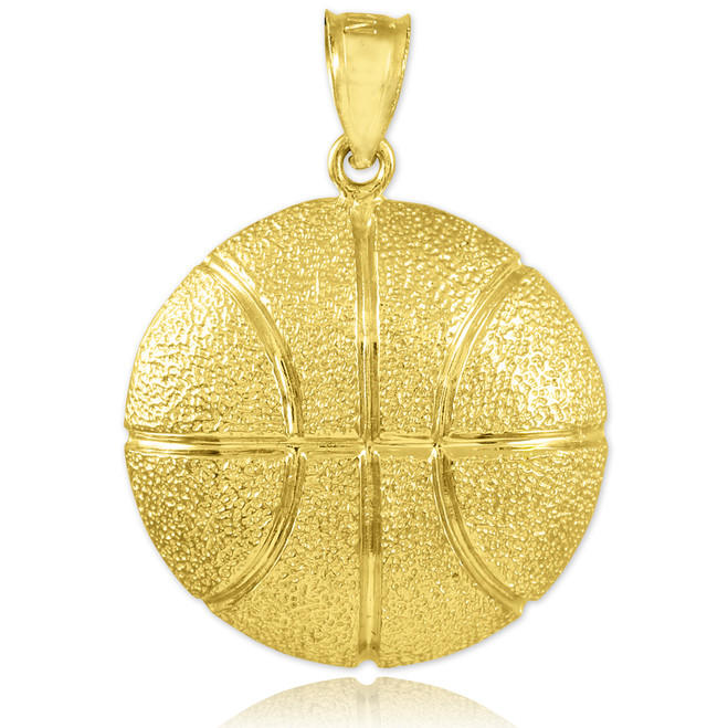 Hammered Gold Basketball Sports Pendant