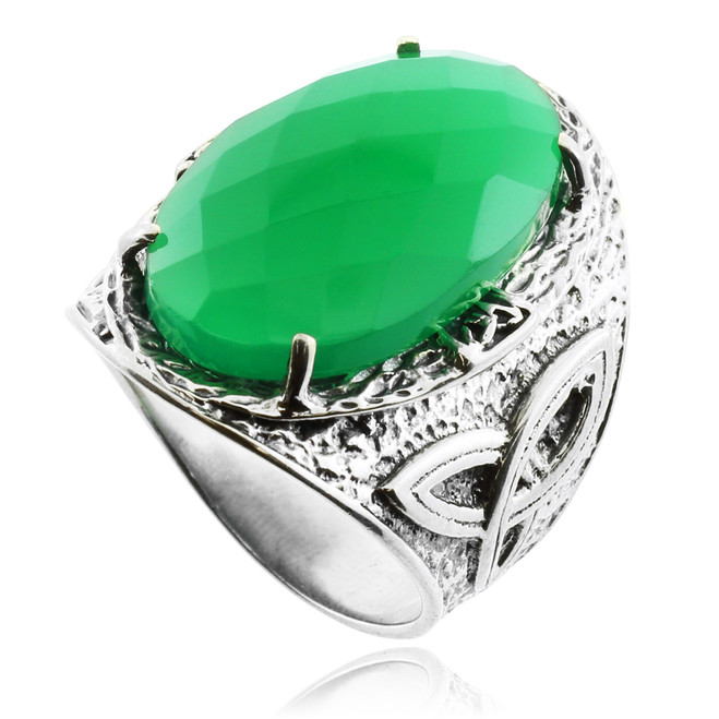 Green Stone Celtic Silver Ring