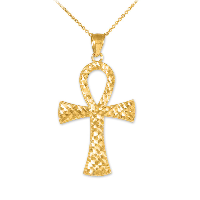 Ankh Cross Gold Pendant Necklace