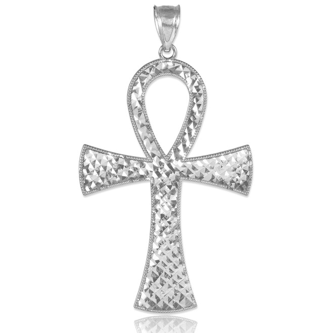 Egyptian Ankh Cross White Gold Pendant