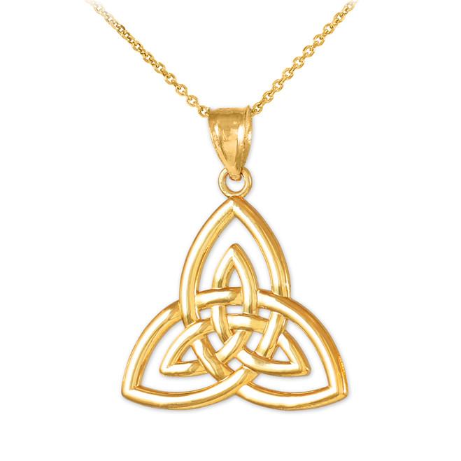 Gold Triquetra Trinity Knot Pendant Necklace