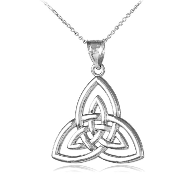 White Gold Triquetra Trinity Knot Pendant Necklace