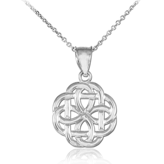 White Gold Triquetra Celtic Trinity Pendant Necklace