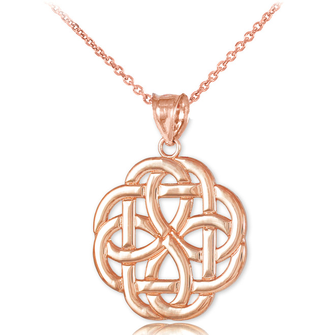 Rose Gold Triquetra Celtic Trinity Pendant Necklace