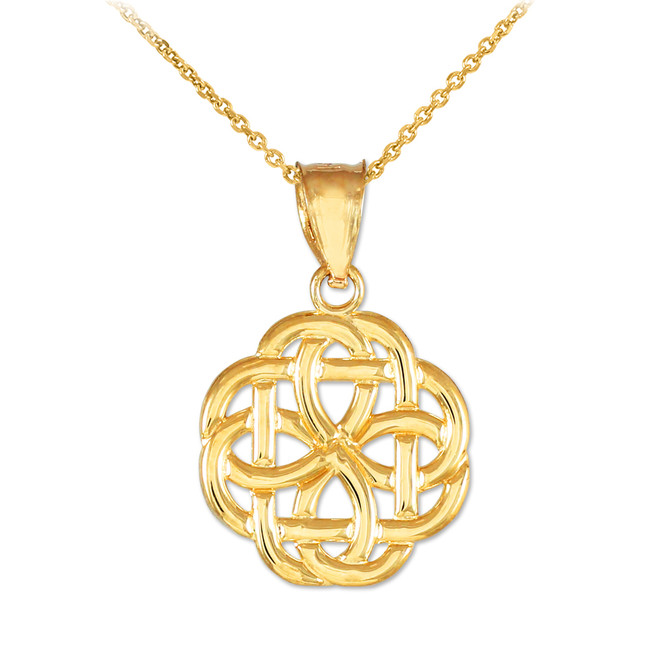 Gold Trinity Knot Charm Pendant Necklace