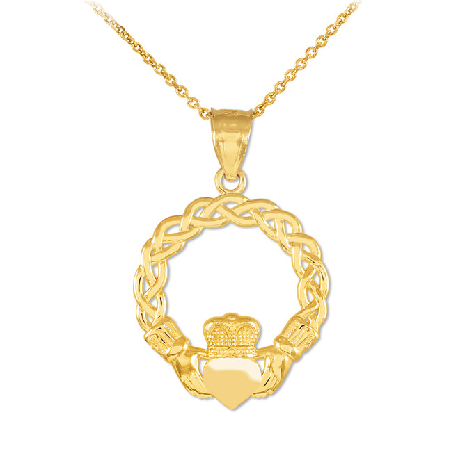 Gold Classic Braided Claddagh Charm Pendant Necklace