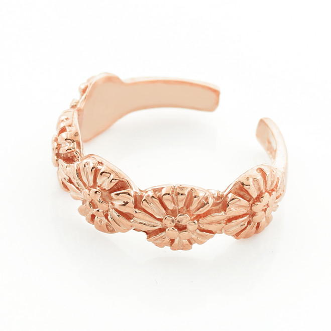 Rose Gold Floral Toe Ring