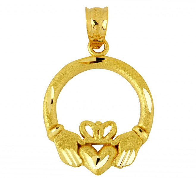 Diamond Cut Claddagh Pendant