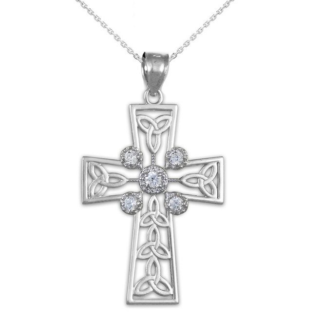 Sterling Silver Celtic Cross Trinity Knot Diamond Pendant Necklace