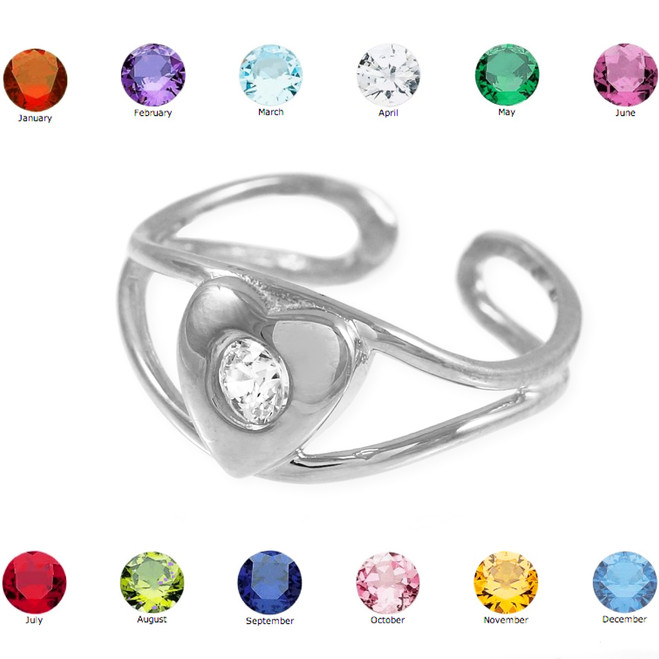 Silver Heart Birthstone CZ Toe Ring